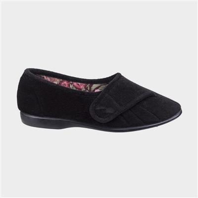Womens Audrey Touch Fastening Black Slipper