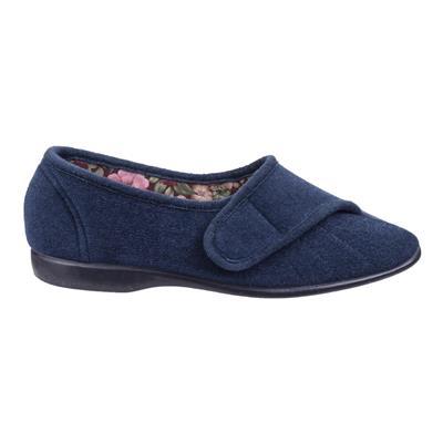 Womens Audrey Touch Fastening Blue Slipper