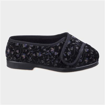 Womens Nola Extra Wide Fit Slipper in Black