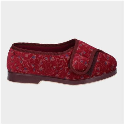 Womens Nola Extra Wide Fit Slipper in Red