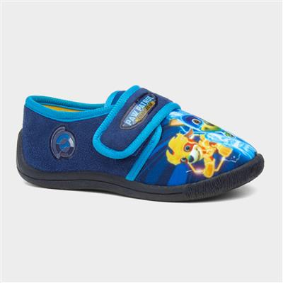 Kids Navy Touch Fasten Slipper