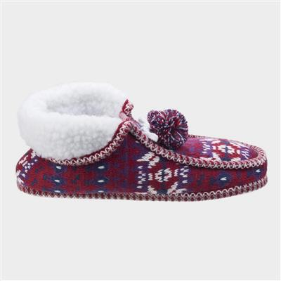 Womens Lapland Knitted Slipper in Red