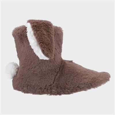 Girls Flopsy Knitted Bootie in Brown