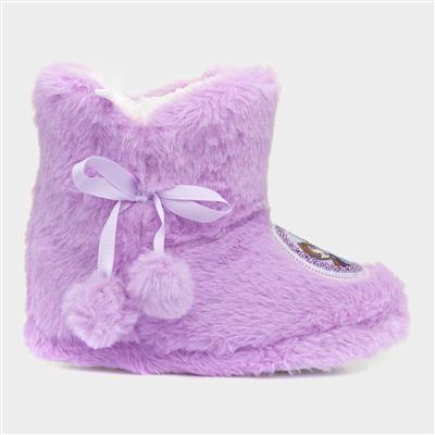 Girls Lilac Bootie Slipper