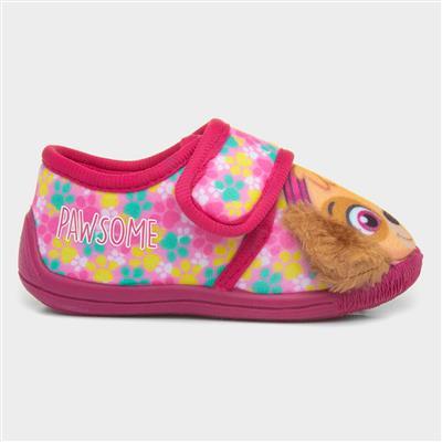 Girls Pink Easy Fasten Slipper