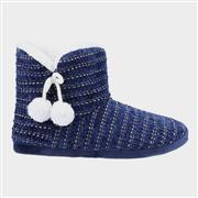 Divaz Saturn Womens Knitted Bootie Slipper in Navy (Click For Details)