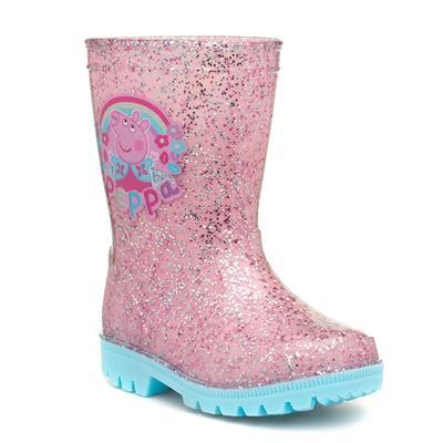 Kids Pink Glitter Wellington Boot