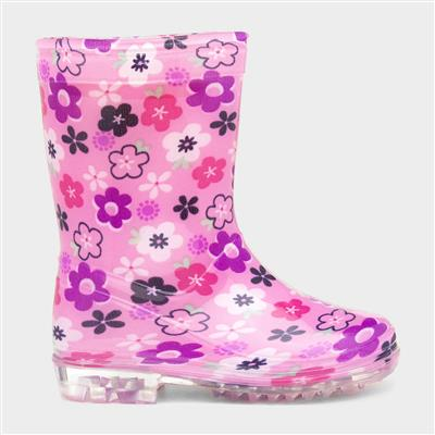 Kids Pink Floral Wellington Boot