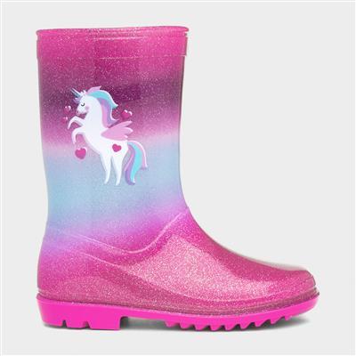 Kids Pink & Blue Unicorn Glitter Wellington Boot