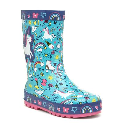 Kids Blue Unicorn Welly