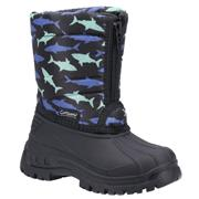 Cotswold Iceberg Kids Black Shark Print Snow Boot (Click For Details)