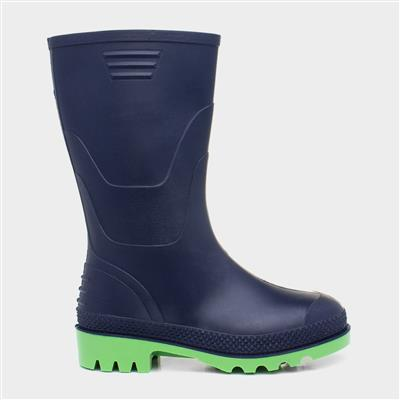 Kids Navy and Lime Welly Boot Kids size 8 to13