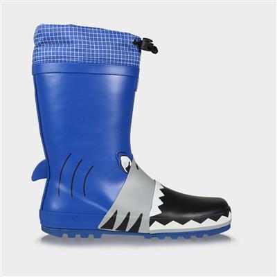 Mudplay Jnr Boys Blue Shark Welly