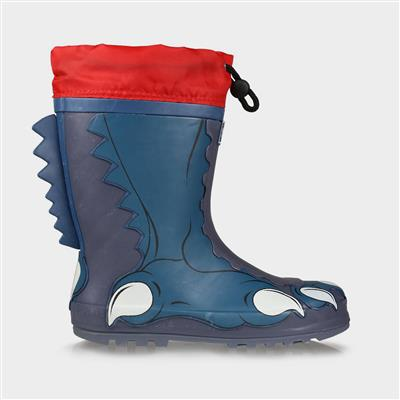 Mudplay Jnr Boys Dinosaur Foot Blue Welly
