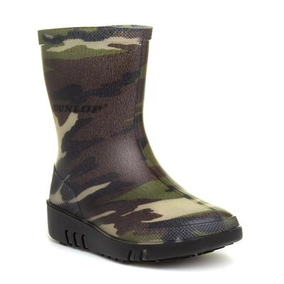 Kids Green Camouflage Wellington Boots