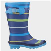 Cotswold Stripe Kids Blue Wellington Boot (Click For Details)