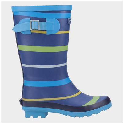 Stripe Kids Blue Wellington Boot