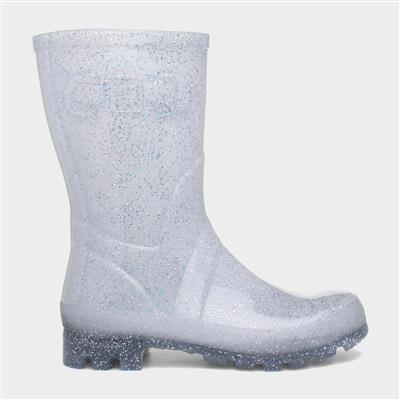 Womens Silver Glitter Wellington Boot