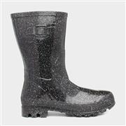 Zone Womens Black Glitter Welly (Click For Details)