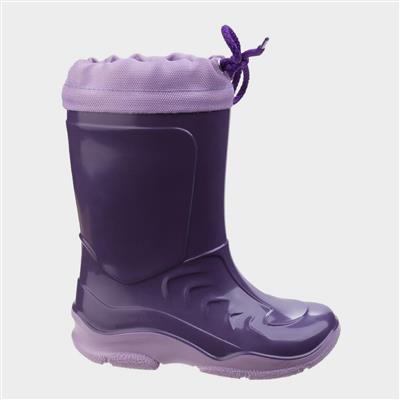 Kids Splash Slip on Wellington in Purple