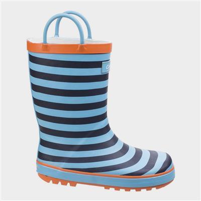Kids Captain Stripy Wellies in Blue