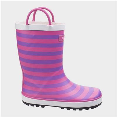Kids Captain Stripy Wellies in Pink