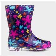 Kids Multi Coloured Flower Print Wellington Boot (Click For Details)