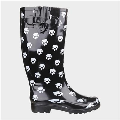 Womens Dog Paw Wellington in Black