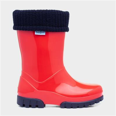 Kids Red & Navy Removable Sock Welly