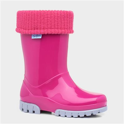 Kids Pink & Grey Removable Sock Welly