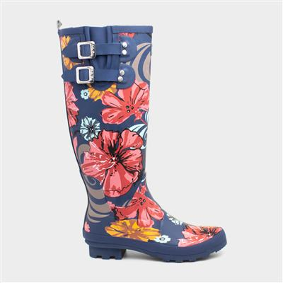 Esme Womens Navy Floral Wellington