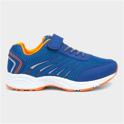 Kids Blue and Orange Easy Fasten Trainers