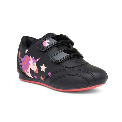 Girls Black Unicorn Easy Fasten Trainer