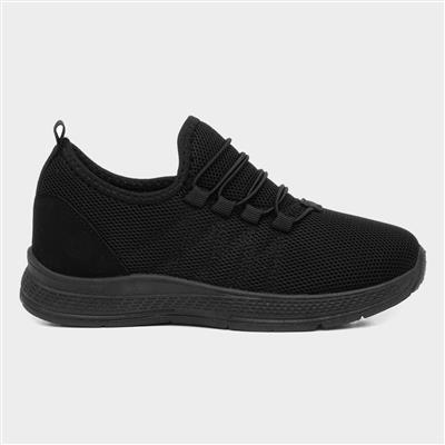Kids Black Bungee Lace Trainer