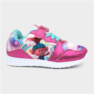 Girls Pink Lace Up Trainer