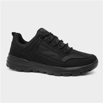 Mens Lace Up Trainer in Black
