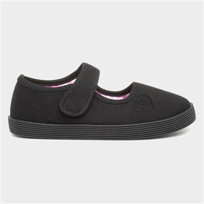 Girls Black Touch Fasten Plimsolls Shoe