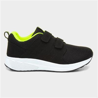 Kids Black Touch Fasten Trainers