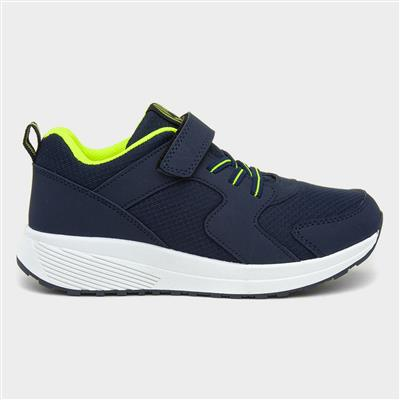 Kids Navy Blue and Green Easy Fasten Trainers