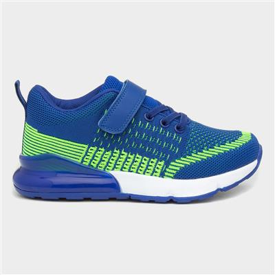 Kids Blue and Green Easy Fasten Trainers
