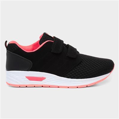 Girls Black & Pink Easy Fasten Trainer