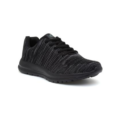 Mens Black & Grey Lace Up Trainer