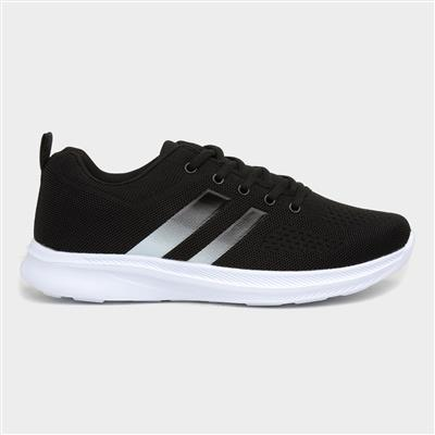 Mens Black Mesh Lace Up Trainers with Stripes