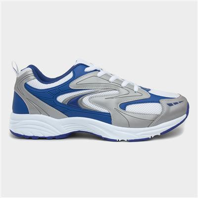 Mens White and Blue Lace Up Trainers