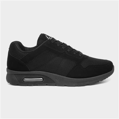 Mens Mesh Lace Up Trainer in Black