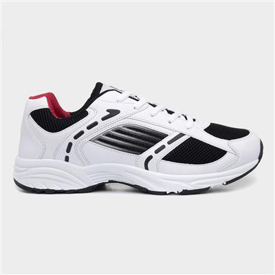 Mens White & Navy Lace Up Trainer