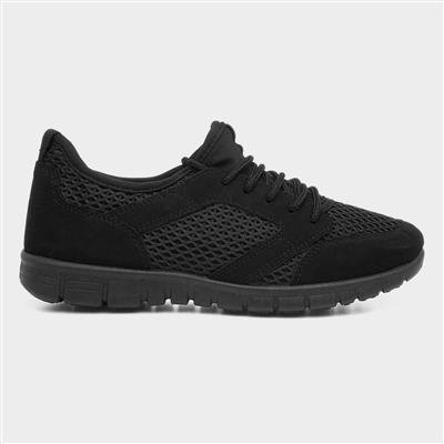 Womens Lace Up Trainer in Black