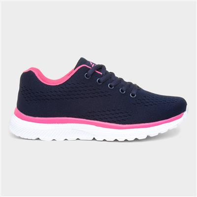 Women's Navy and Pink Lace Up Trainers