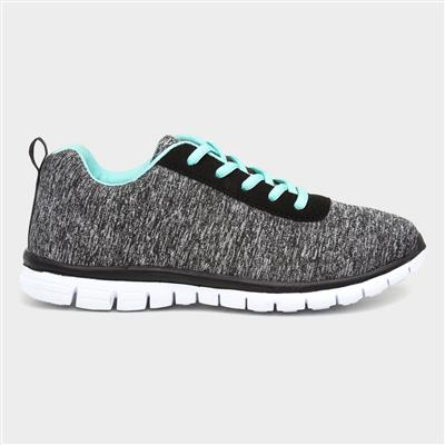 Womens Grey Lace Up Trainer
