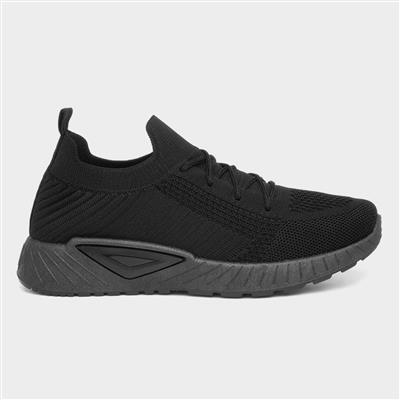 Womens Lace Up Knitted Trainer in Black